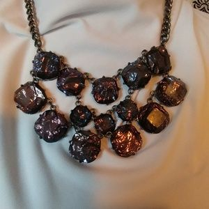 Jewelry - Blueberry/purple tiered necklace with earrings